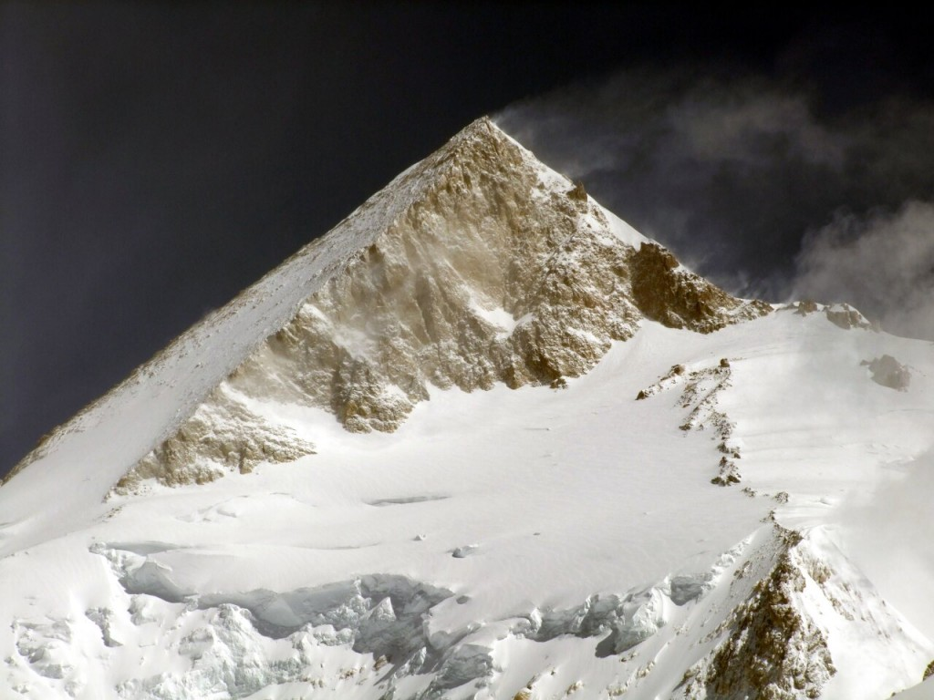 The summit pyramid of Gasherbrum II, another mountain where it's very easy to see climbers from down below