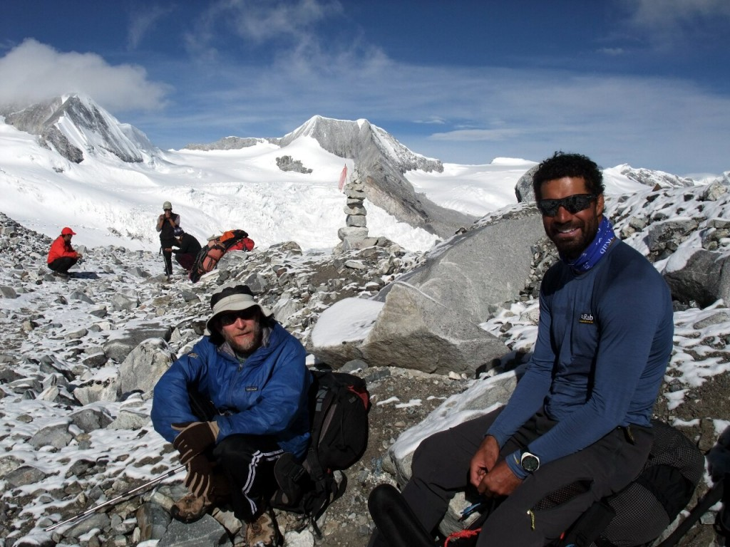 Richard Parks (right) with Geoff Holland on Cho Oyu last year