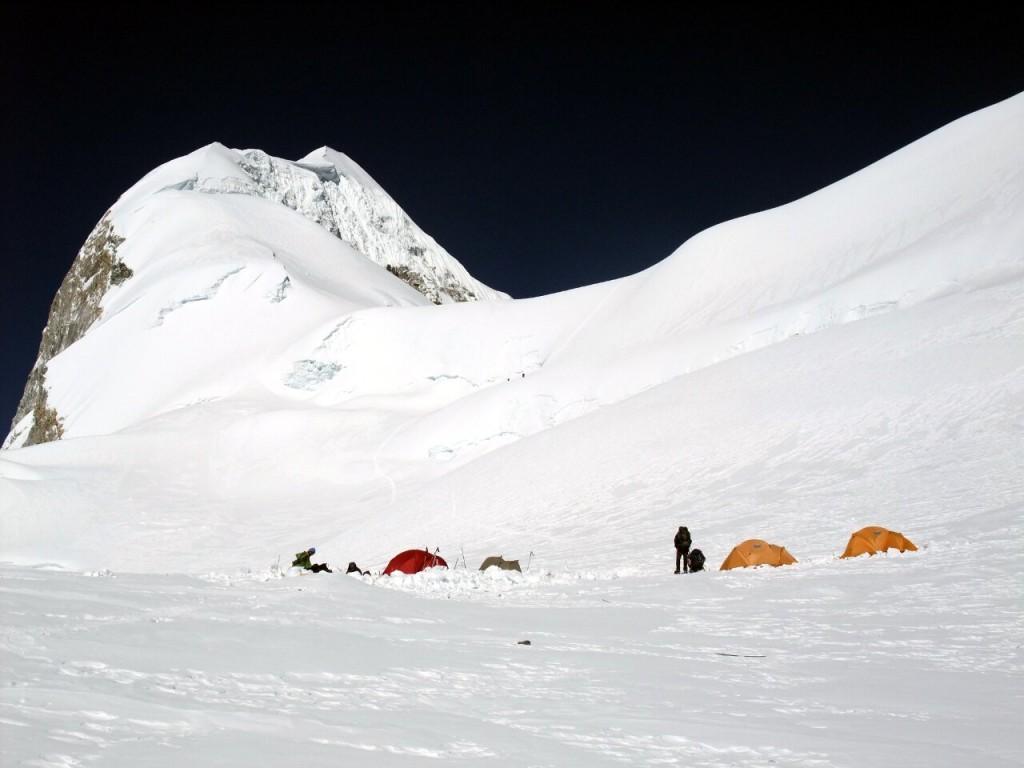 Camp 2 on Baruntse, with the summit ridge behind