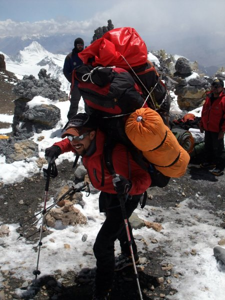 Leo at Colera Camp, Aconcagua on 1 January, 2011, carrying a back-breaking 47kg