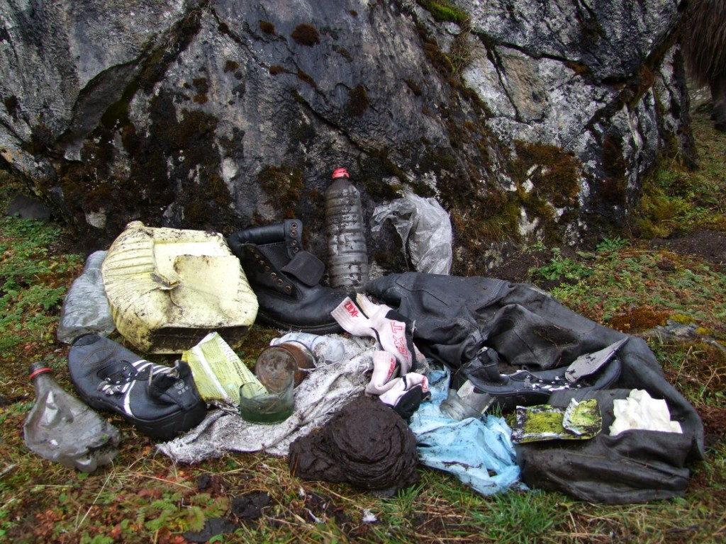 The world's most unpleasant campsite? All of this trash was found in a 5m square area at a beautiful location on the Snowman Trek