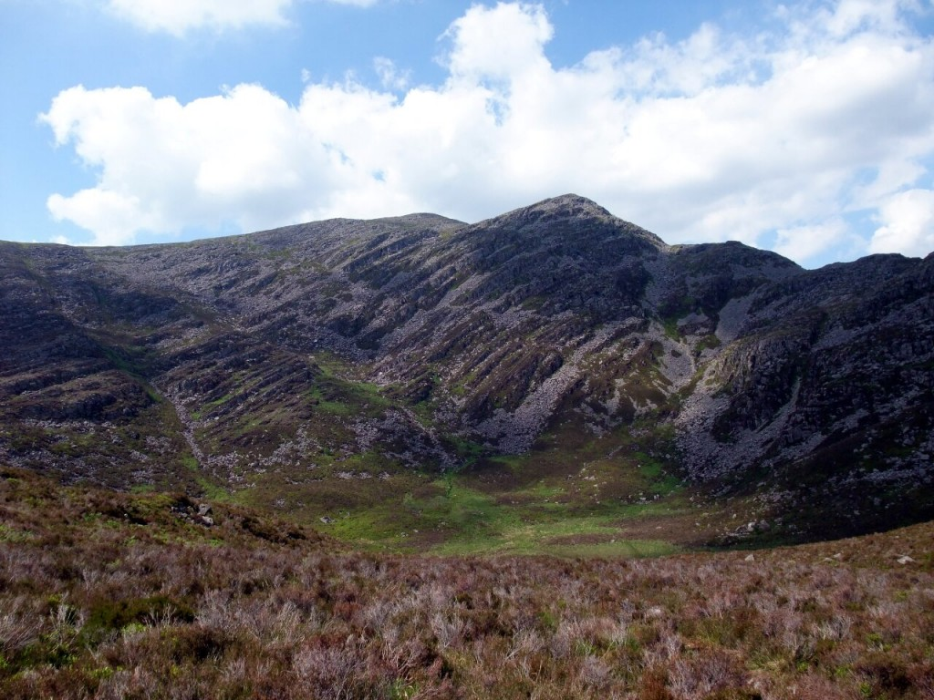 Rhinog Fawr seen across heather from beneath Rhinog Fach