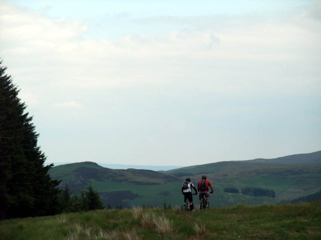 Mountain bikers on the Cwmdeuddwr Hills
