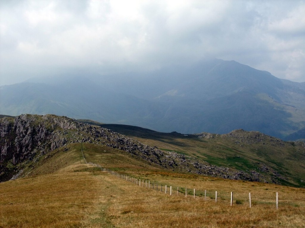 Cloudy view of the Snowdon Horseshoe from Bwlch Clorad
