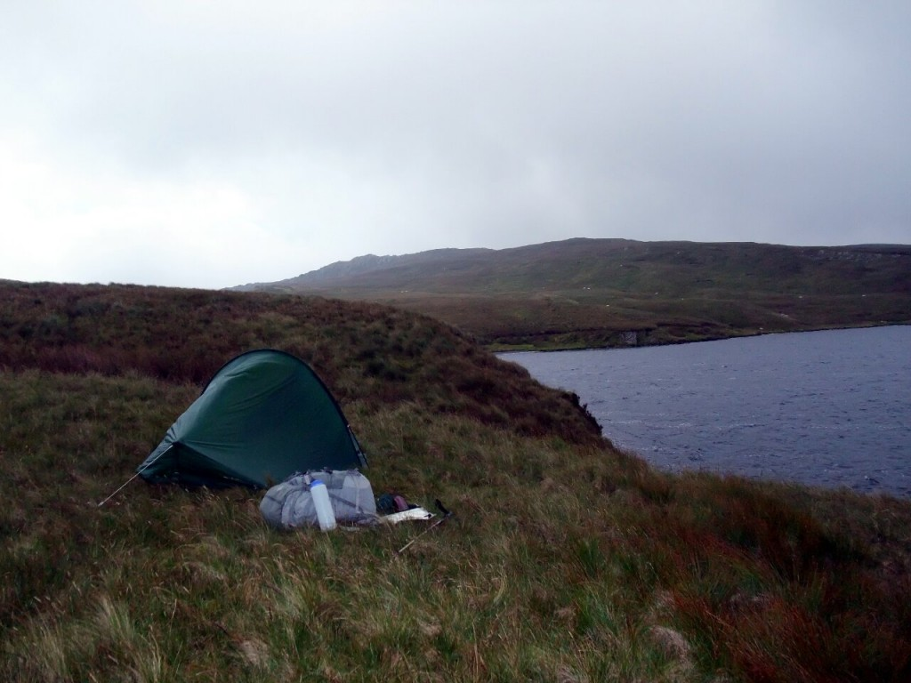 Wild camping spot beside Llyn Conglog, with Allt-fawr behind