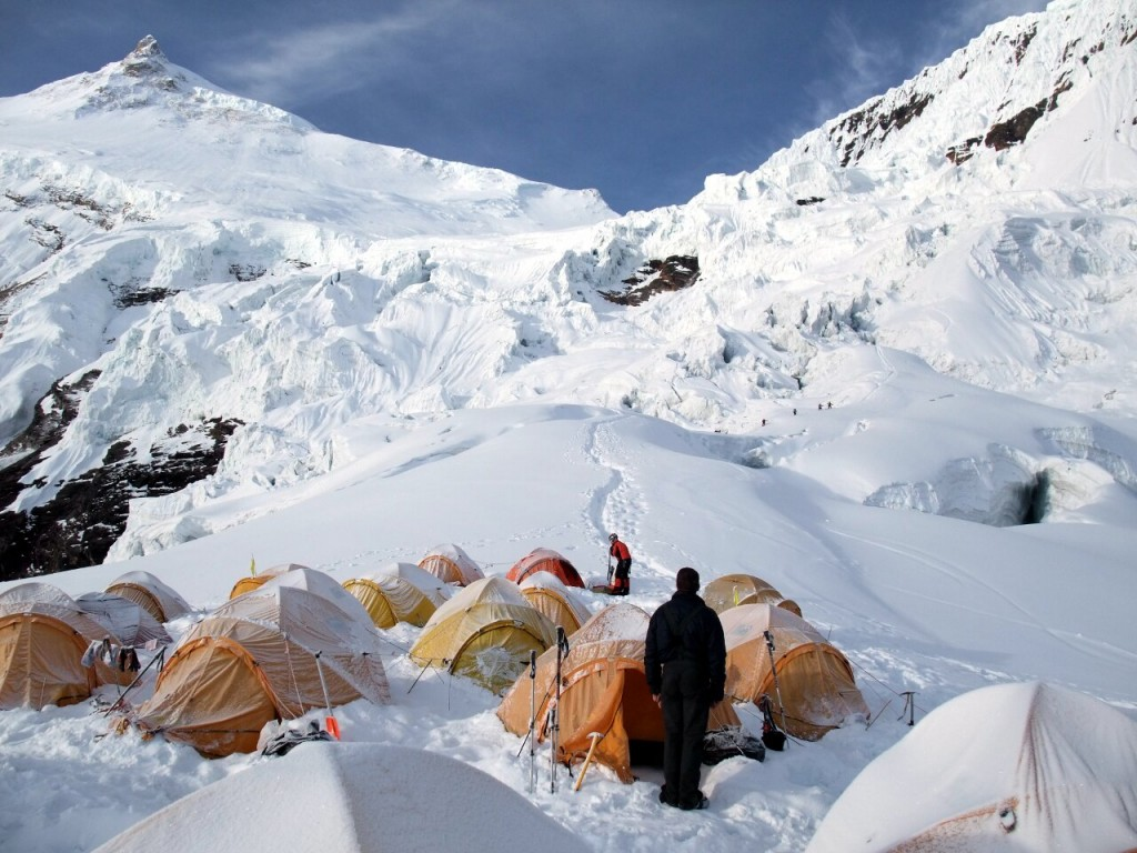 Camp 1, looking up the intricate maze of seracs to Camp 2