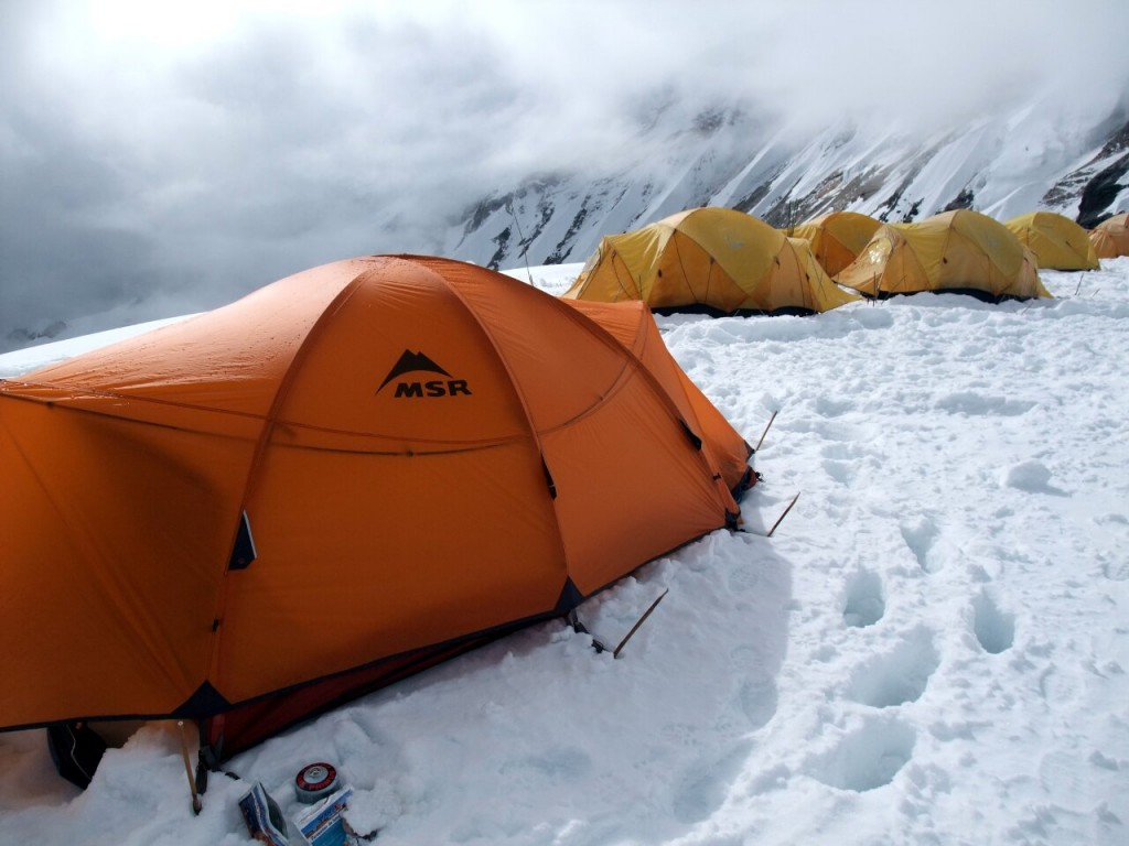 Tents at Camp 1: different colours, logos and sizes. Can you spot the difference?
