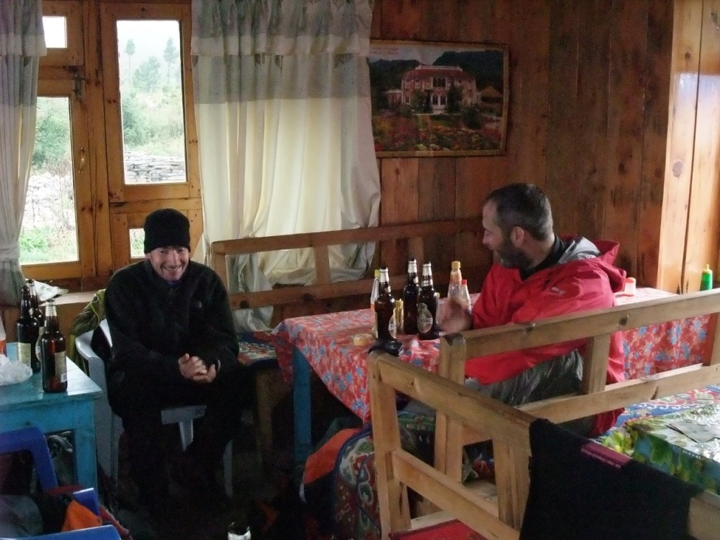 Another fine mess: Ian and Mark, aka Laurel and Hardy, relax at the tea house in Samagaon