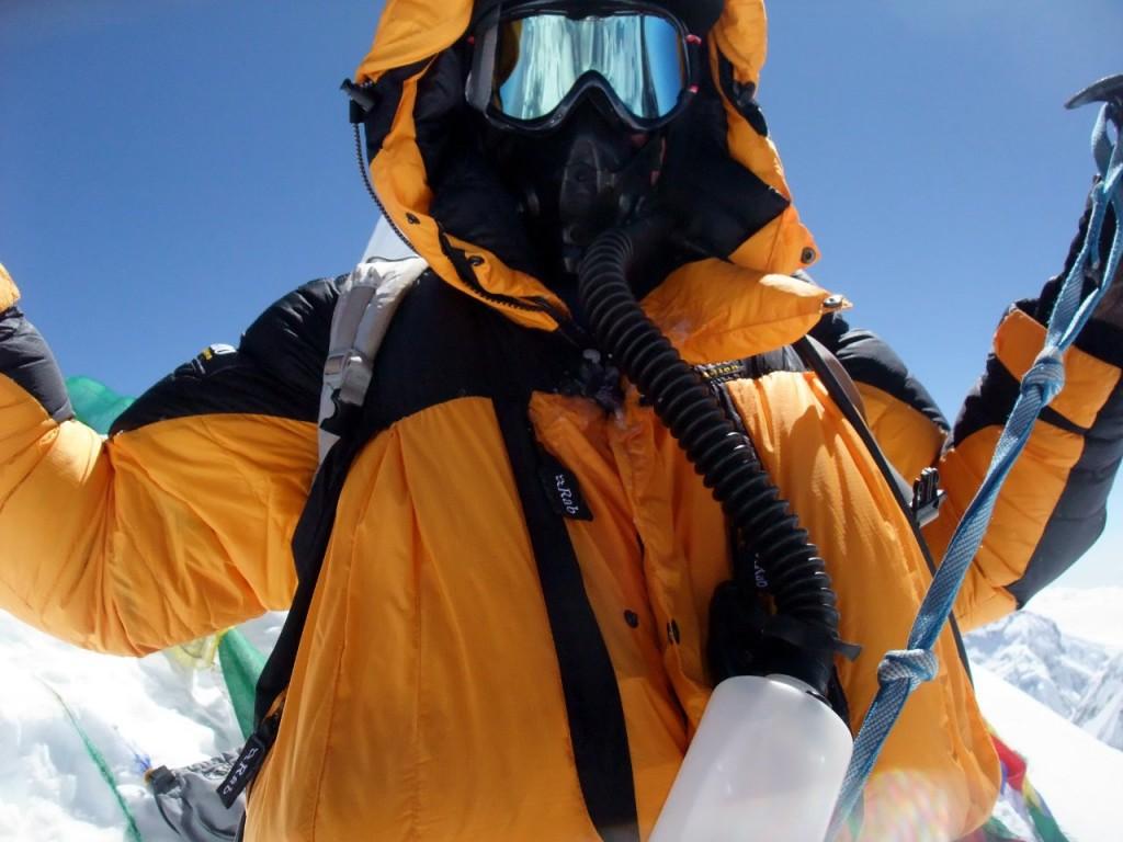 Me wearing my oxygen apparatus on the summit of Manaslu
