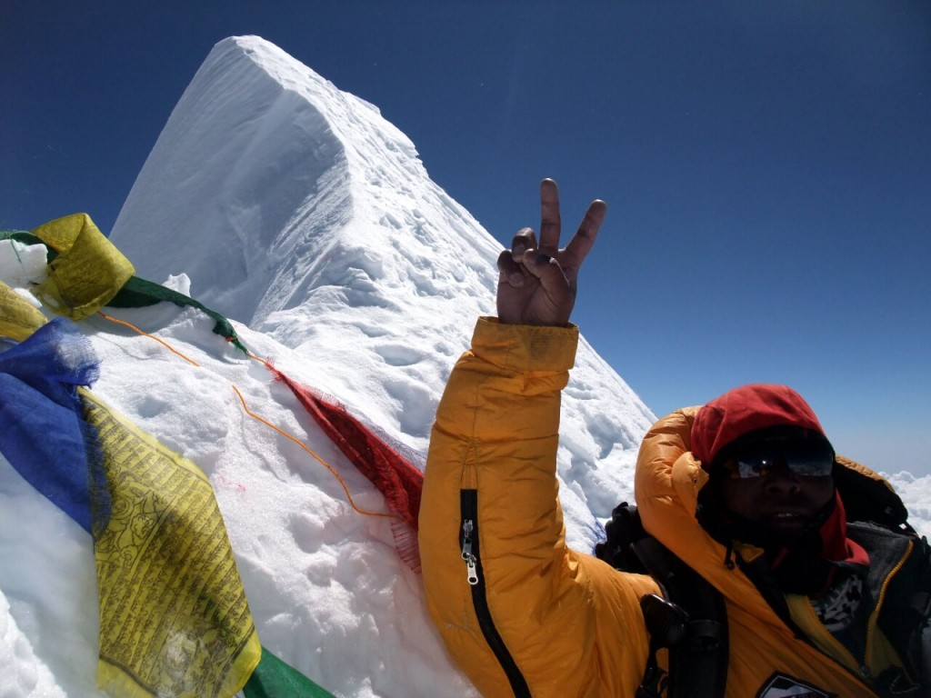 Chongba Sherpa on the summit of Manaslu