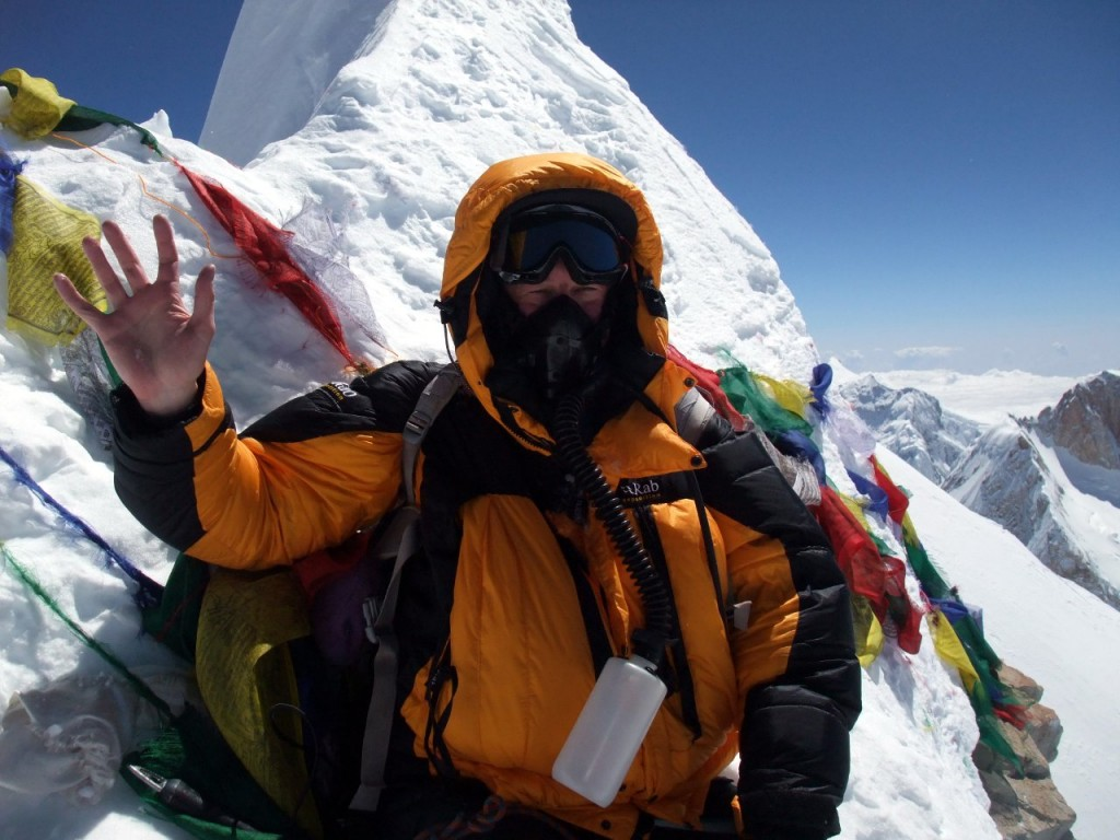 Me on Manaslu's summit, wearing the oxygen mask the distressed climber was demanding