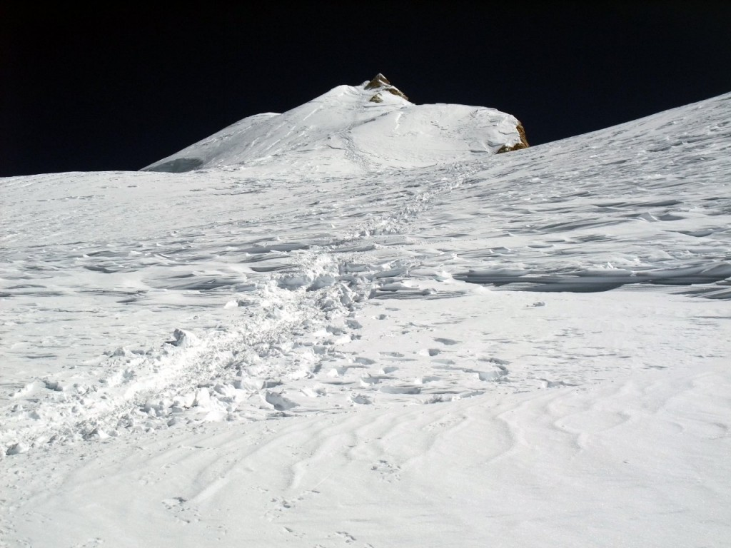 Looking up the third plateau to the summit crown