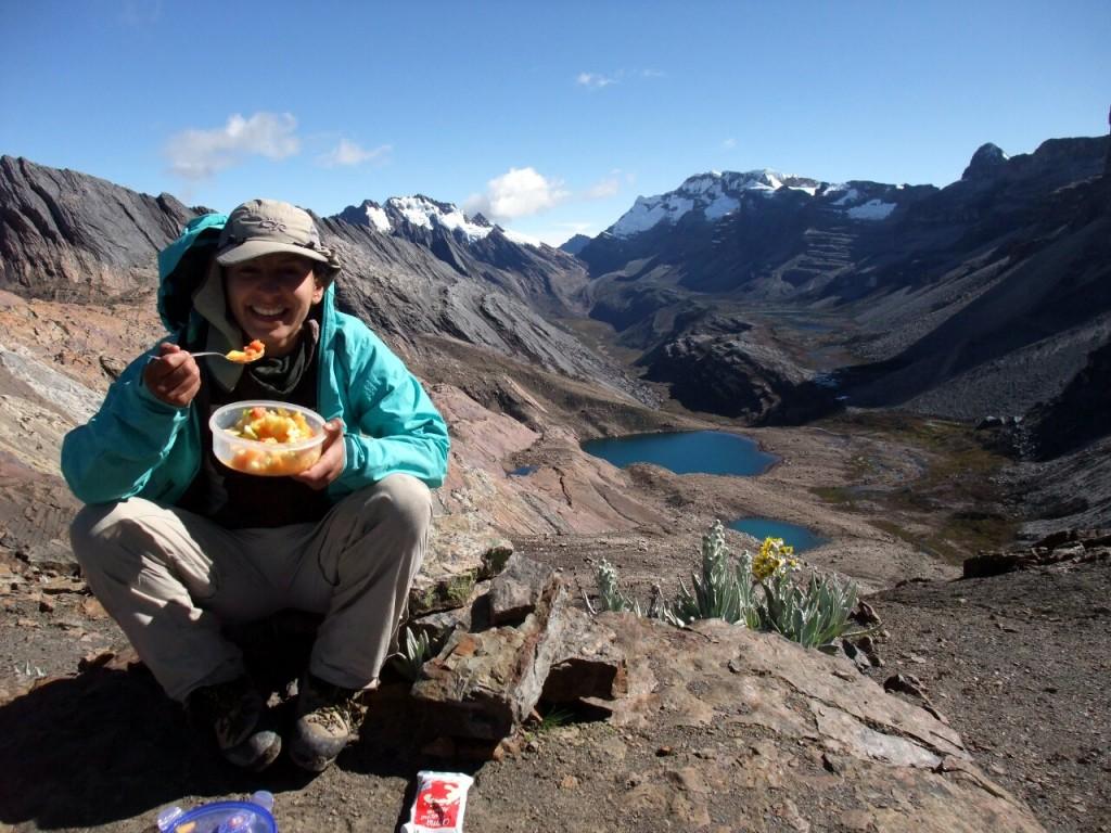 Erika enjoys a fruit salad at Boquerón de la Sierra
