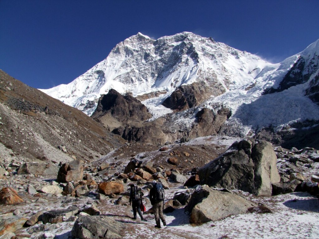 The awe-inspiring Makalu towers above the trail near Makalu Base Camp
