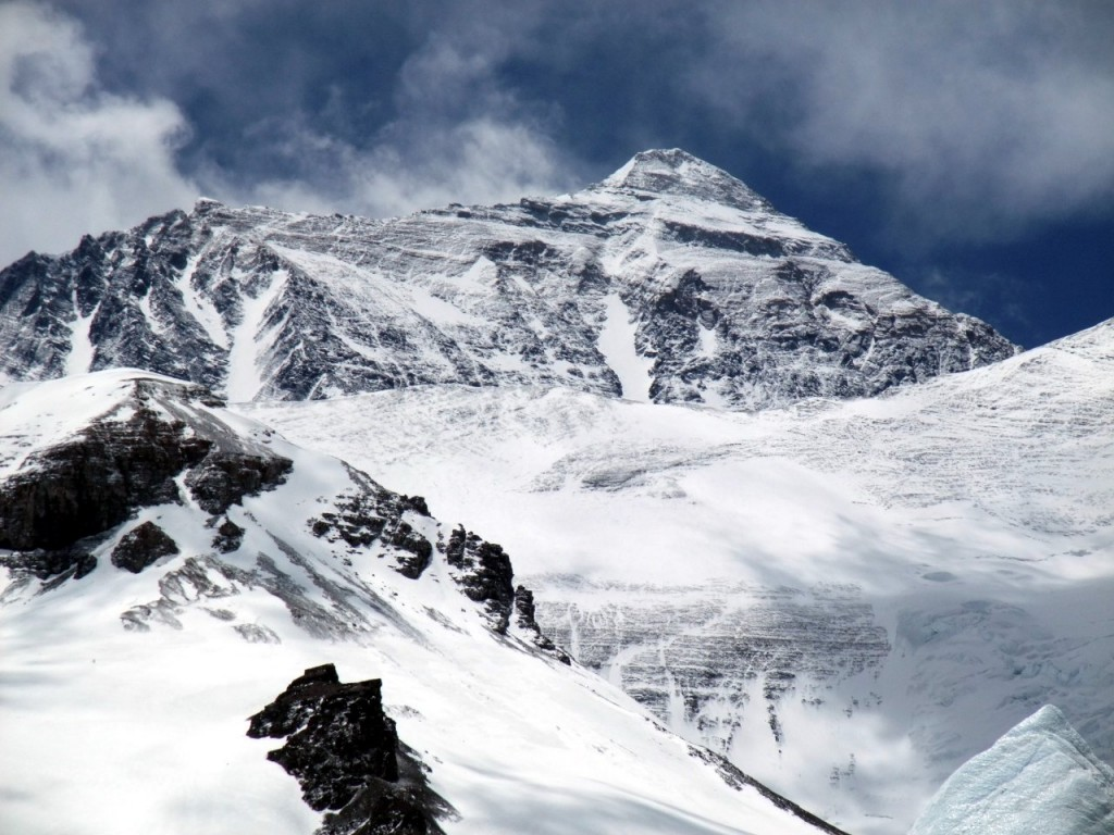 The summit ridge of Everest seen from above Interim Camp on the East Rongbuk Glacier