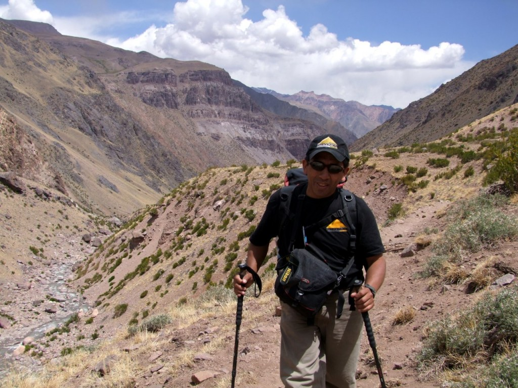 Augusto Ortega near Pampa de Leñas on the Vacas trail into Aconcagua