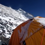 The North Face of Everest from Camp 3. Somewhere on those vast slabs lies the corpse of Sandy Irvine, but after years of searching it has never been found.
