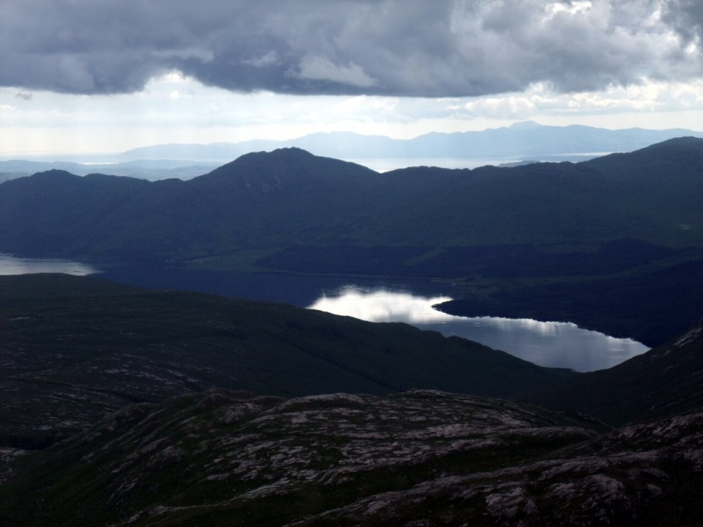 Looking across Loch Etive from the summit of Beinn nan Aighenan, with the Island of Mull on the far horizon