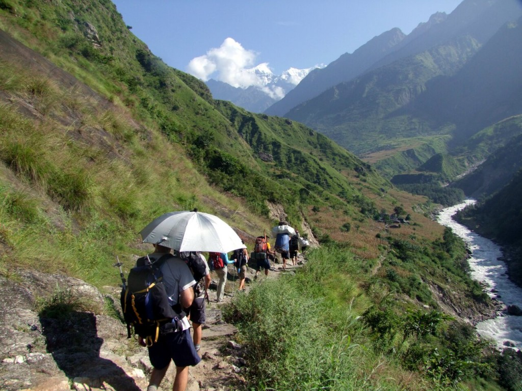 An advantage of the Altitude Junkies Manaslu itinerary is the wonderful trek in along the Budhi Gandaki valley