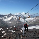 Hitching a ride on a chair lift up Elbrus, definitely cheating if that sort of thing bothers you