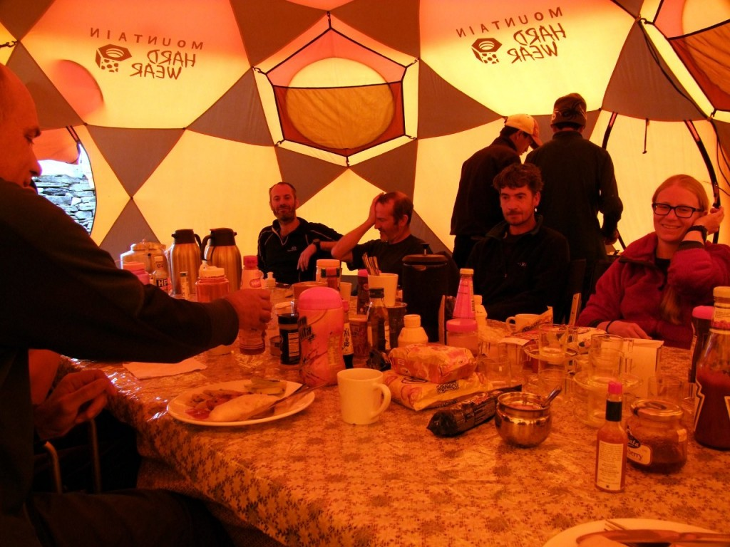 Dinner time at expedition base camp is a good time to hear operators slag off their competitors
