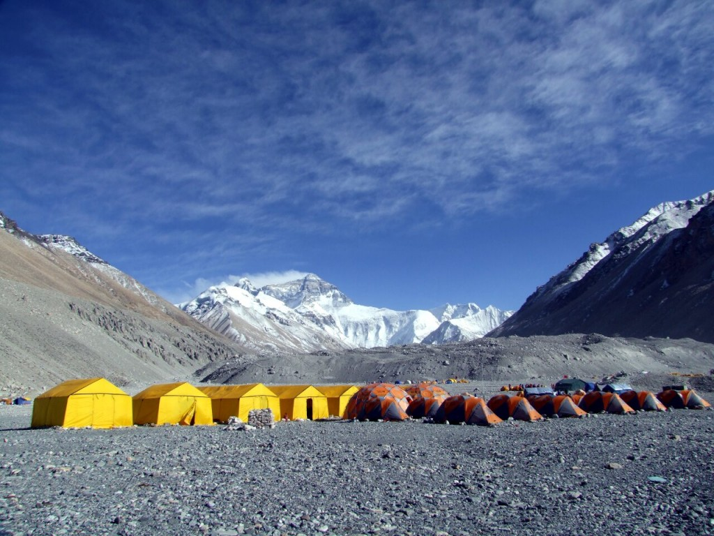 We had a comfortable set up at Everest Base Camp in Tibet this year, with bathroom, storage, dome and individual sleeping tents