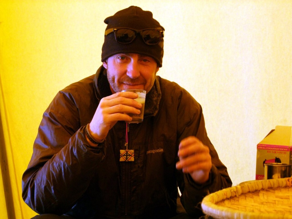 One of the perks of a Junkies expedition is base camp happy hour, and Phil certainly looks happy in this photo