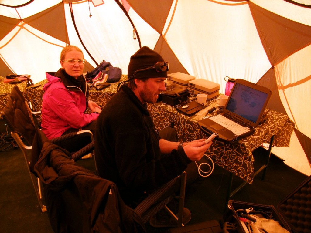 Most teams have sophisticated communications equipment at Everest Base Camp, including laptops with internet connection