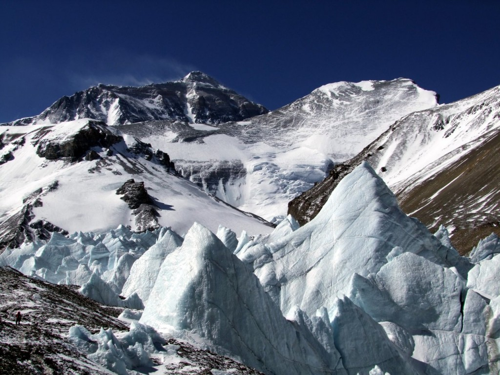 Ice pinnacles in the East Rongbuk Valley, with the North Face of Everest towering overhead