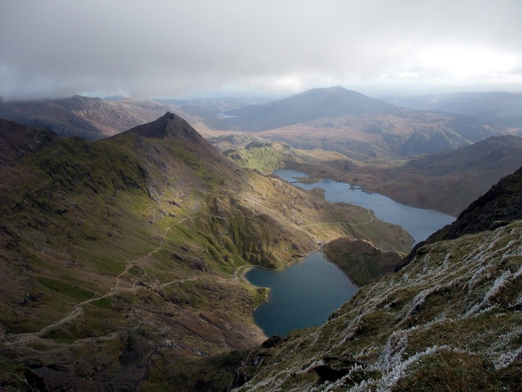 Looking down into Cwm Dyli from just below the summit