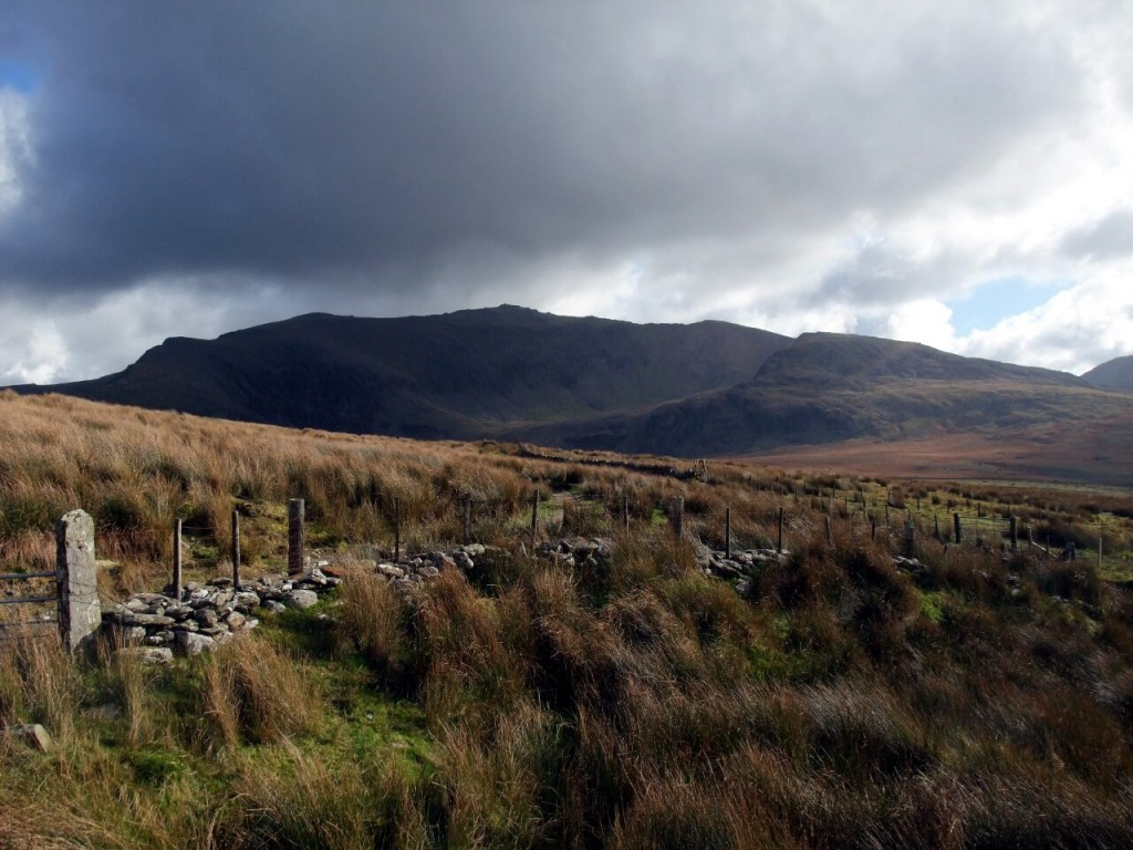 Snowdon from the west, from a stone wall on the Snowdon Ranger Path