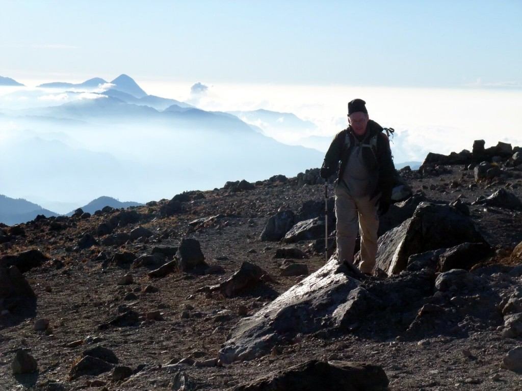 On the summit of Volcan Tajumulco, with volcanoes in the clouds
