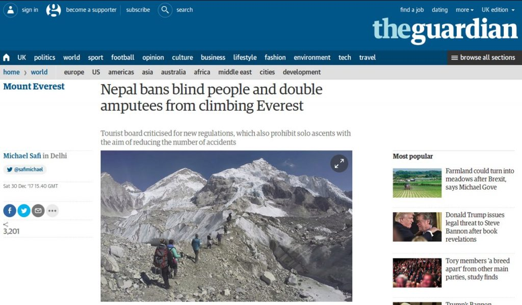 The latest silly announcement about Everest, courtesy of the Guardian