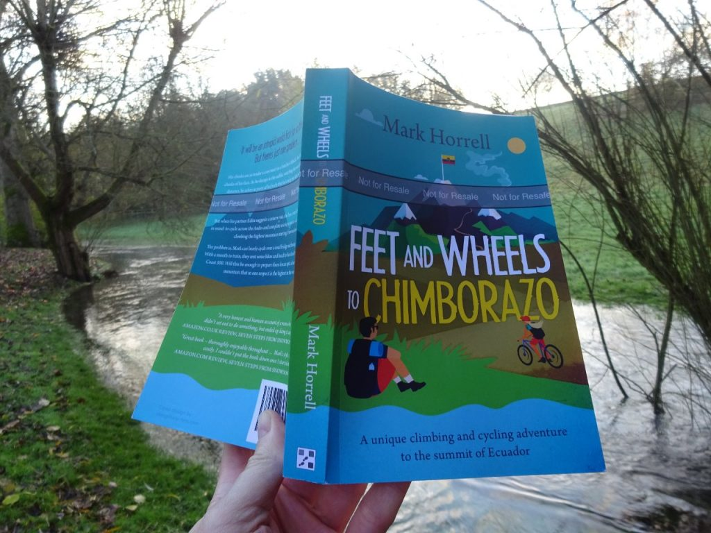This is my proof copy of Feet and Wheels to Chimborazo. Your copy won't have that grey band around the cover saying 'Not for resale' (or any typos). This means the recipient can flog it on Ebay if they don't like it.