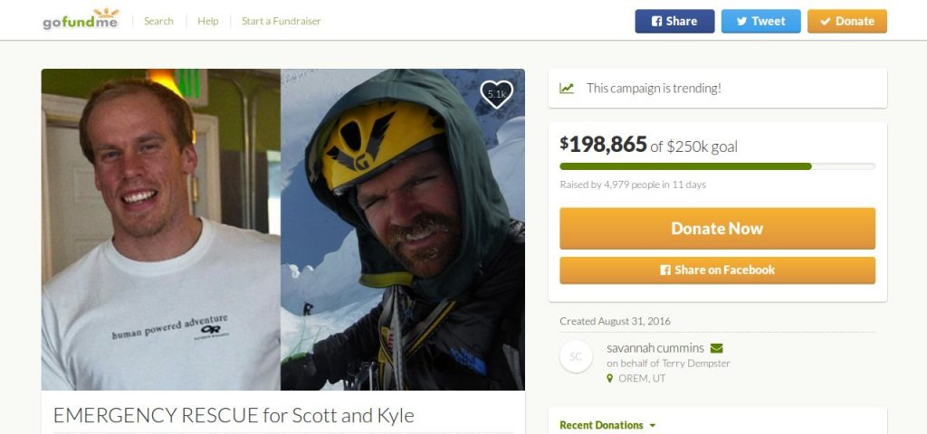 A crowdfunding appeal to search for and rescue the two climbers Kyle Dempster and Scott Adamson raised nearly $200,000 in a matter of days