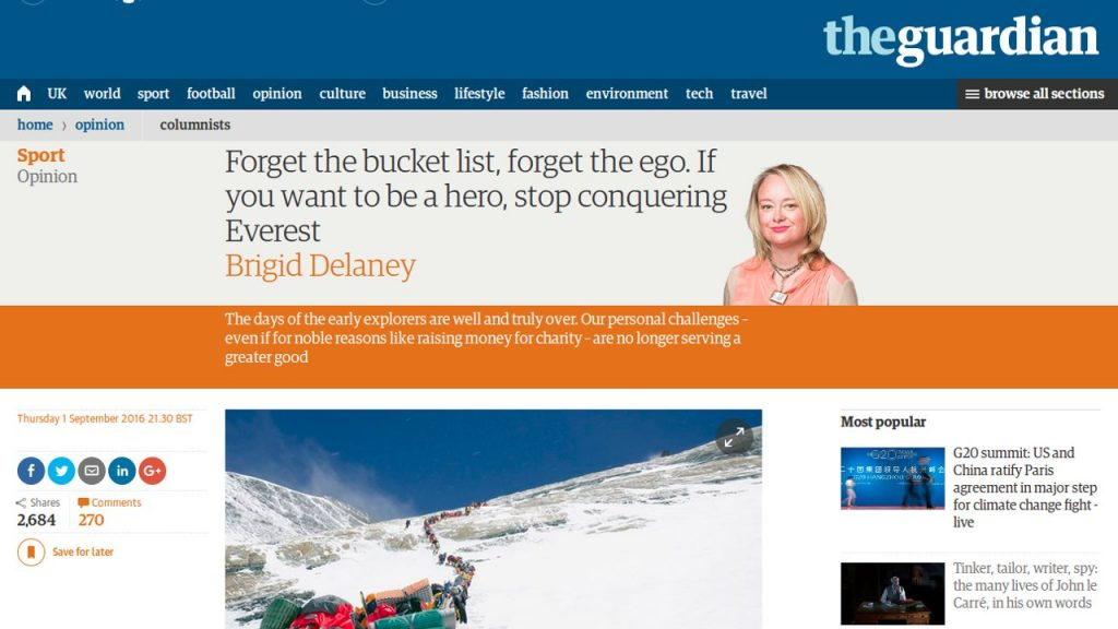 The Guardian provides some advice to Everest aspirants, but who the hell is Brigid Delaney?