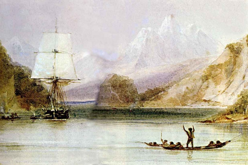 The crew of the HMS Beagle, including Charles Darwin, saw many big mountains while surveying the coast of South America (Picture: Conrad Martens / Wikimedia Commons)