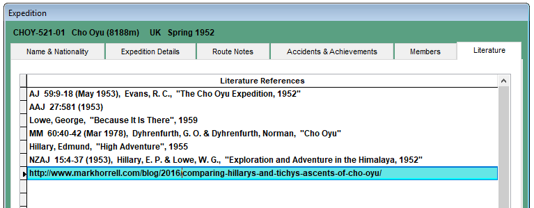 The list of reference material about Eric Shipton's 1952 Cho Oyu expedition