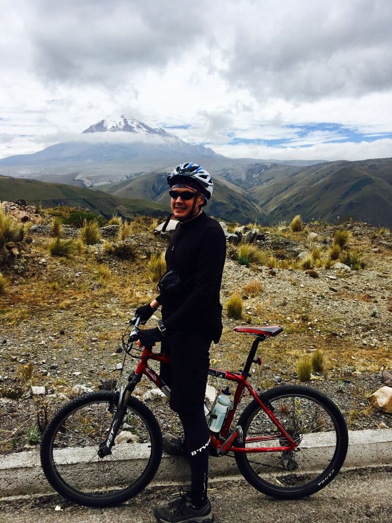 Me on the road up to Chimborazo. I was still suffering from food poisoning this day, and although I made it to the foot of the mountain I has to take a support vehicle on the way down while Edita continued to Riobamba alone.