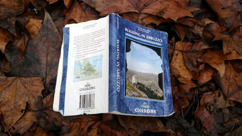The Cicerone guidebook Walking in Abruzzo: at least it had a soft landing this time on a bed of leaves