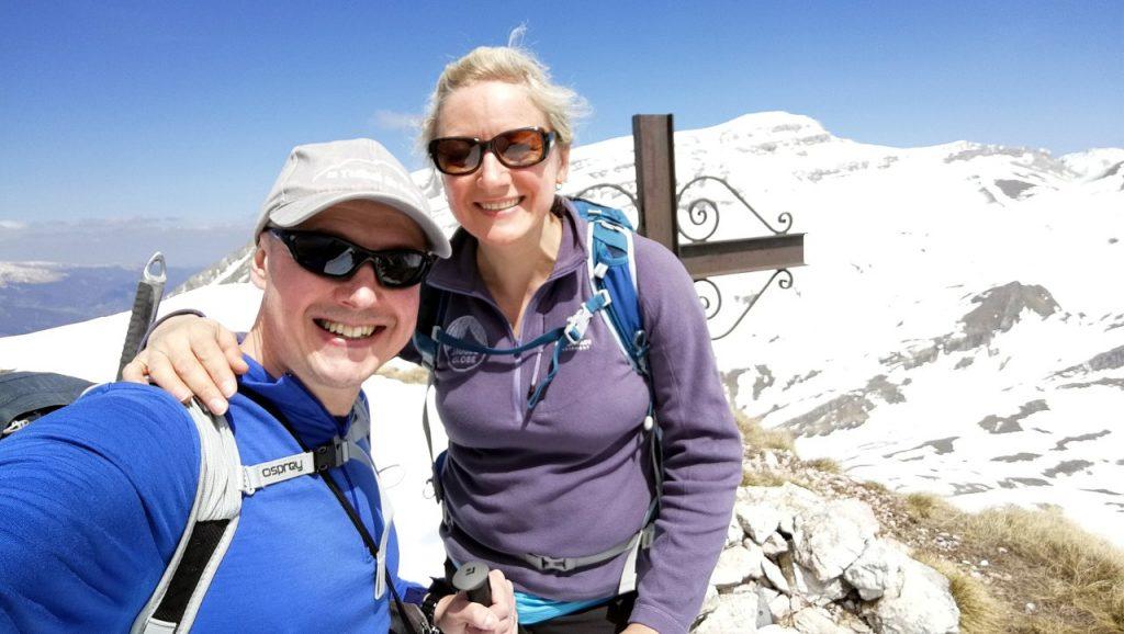 A Pizzo di Camarda summit selfie, with Monte Corvo behind
