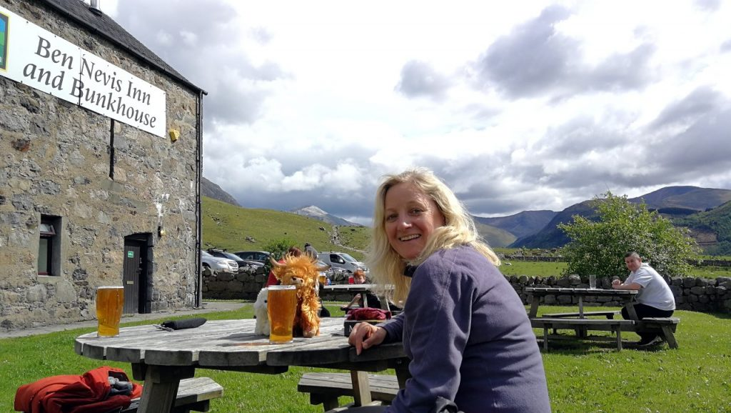 Edita at the Ben Nevis Inn, a place that is impossible to avoid after a thirsty descent