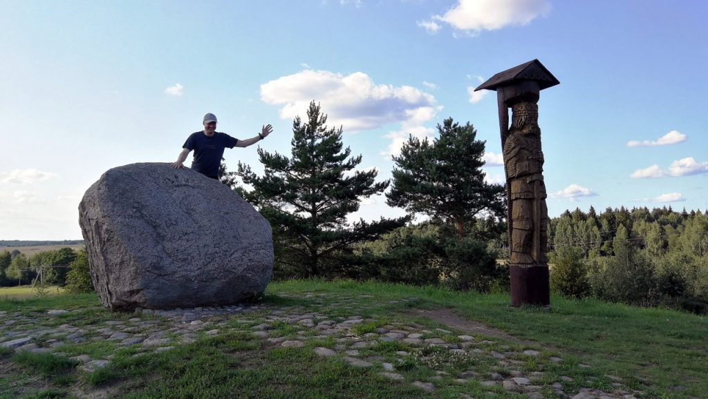 Me on the summit of Juozapine Hill (293m), formerly the highest mountain in Lithuania, with the statue of King Mindaugas on the right