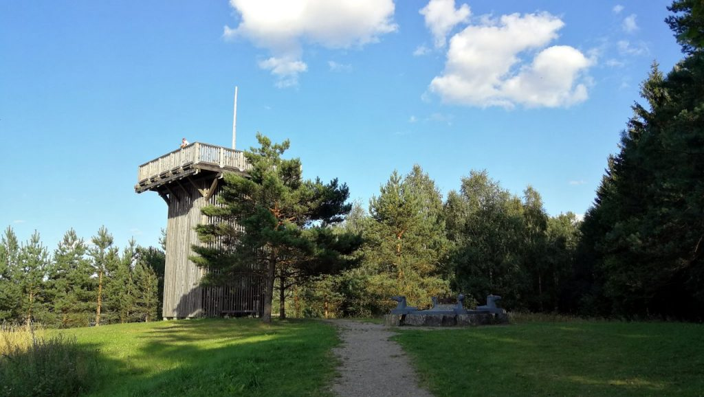 The viewing tower and four-horse monument on the summit of Aukstojas Hill