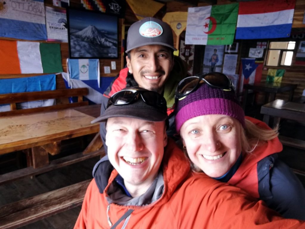 Estalin, me and Edita at Jose Rivas Refuge the day before our climb