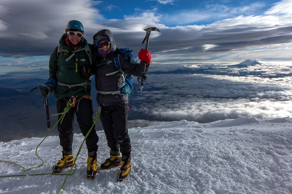 Me and Edita on the summit of Cotopaxi (5,897m)