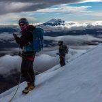 Edita and me on the slopes of Cotopaxi with Antisana behind (Photo: Estalin Suarez)