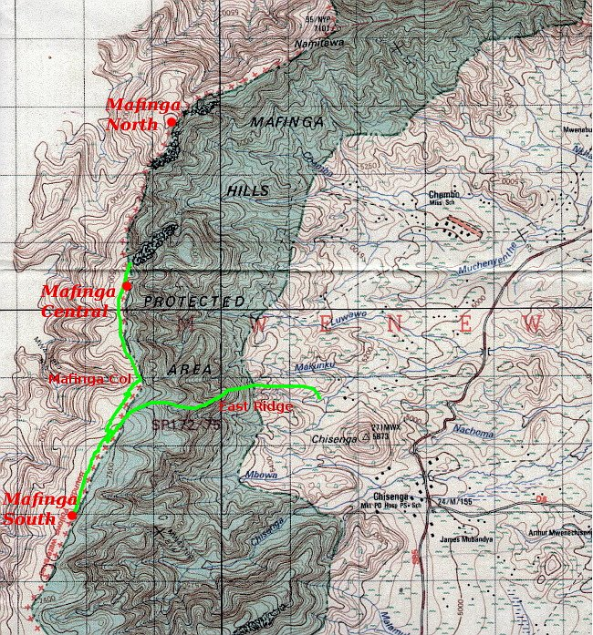 Government of Malawi Department of Survey map of the Mafinga Hills. I have added the three summits Mafinga North, Mafinga Central and Mafinga South, and two other features, Mafinga Col and the East Ridge. Our route of ascent is marked in green.