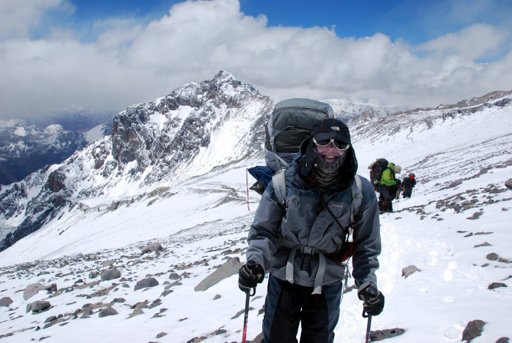 Mark Horrell on Aconcagua's False Polish Glacier traverse in 2010 (Photo: Augusto Ortega)