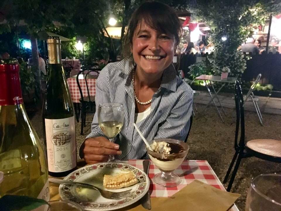 Michelle enjoying some Italian vino bianco during a visit to Rome (Photo: Edita Horrell)